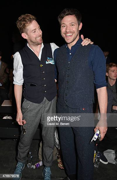 Ricky Wilson and Will Young attend the front row at the Oliver Spencer show during London Collections Men SS16 at The Old Sorting Office on June 13...