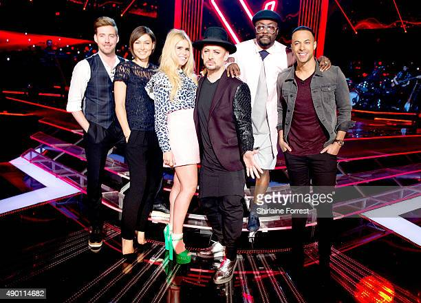 Ricky Wilson host Emma Willis Paloma Faith Boy George and William and host Marvin Humes of The Voice UK new Judge line up pose on set on first day of...