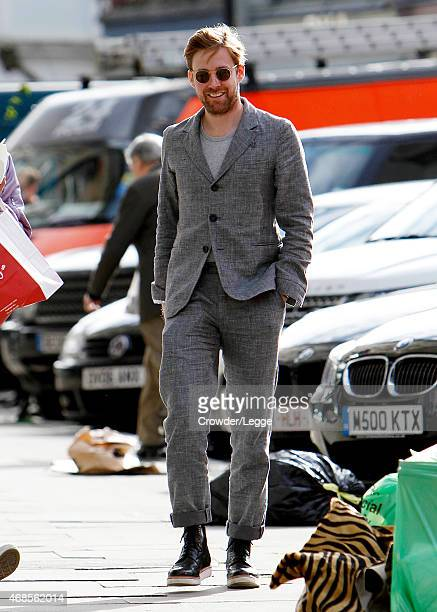 Ricky Wilson is pictured out with friends in London ahead of 'The Voice' final on April 2 2015 in London England