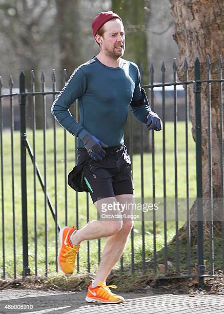 Ricky Wilson is pictured taking a early morning run in a North London park on March 2 2015 in London England