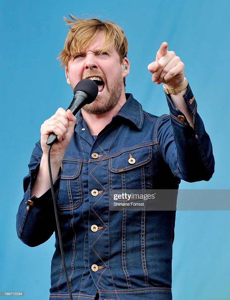 Ricky Wilson of Kaiser Chiefs performs at Bramham Park on August 24, 2012 in Leeds, England.