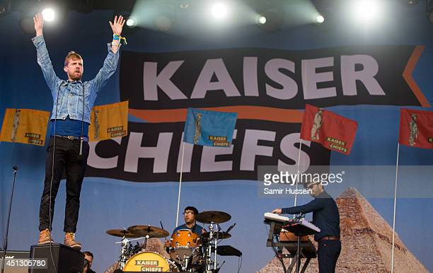 Ricky Wilson of Kaiser Chiefs performs on Day 1 of the Glastonbury Festival at Worthy Farm on June 27 2014 in Glastonbury England