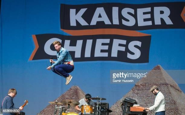 Ricky Wilson of Kaiser Chiefs performs on Day 1 of the V Festival at Hylands Park on August 16 2014 in Chelmsford England