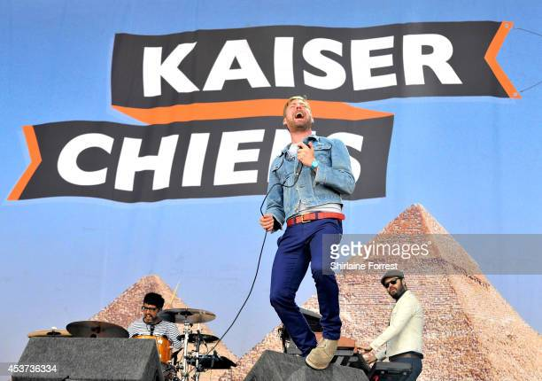 Ricky Wilson of Kaiser Chiefs performs on Day 2 of the V Festival at Weston Park on August 17 2014 in Stafford England