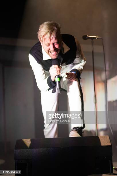 Ricky Wilson of Kaiser Chiefs performs on stage at Usher Hall on January 22 2020 in Edinburgh Scotland