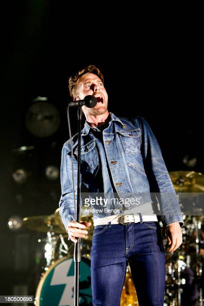 Ricky Wilson of the Kaiser Chiefs performs at First Direct Arena on September 13, 2013 in Leeds, England.