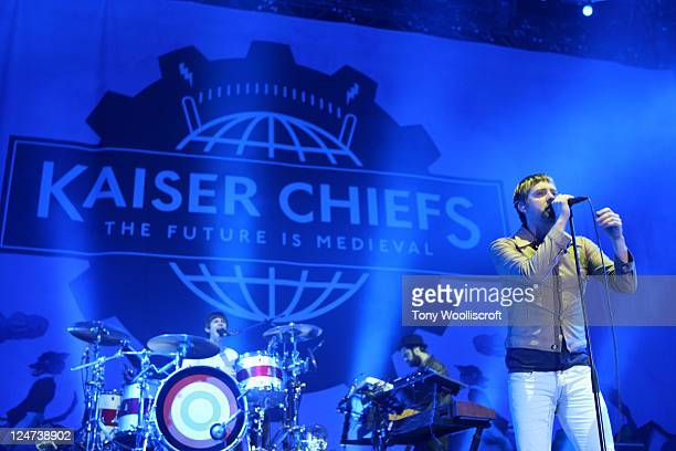 Ricky Wilson of The Kaiser Chiefs performs at Kirkstall Abbey on September 11 2011 in Leeds England