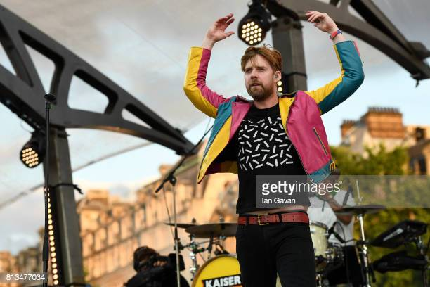 Ricky Wilson of the Kaiser Chiefs performs at the F1 Live in London event at Trafalgar Square on July 12, 2017 in London, England. F1 Live London,...