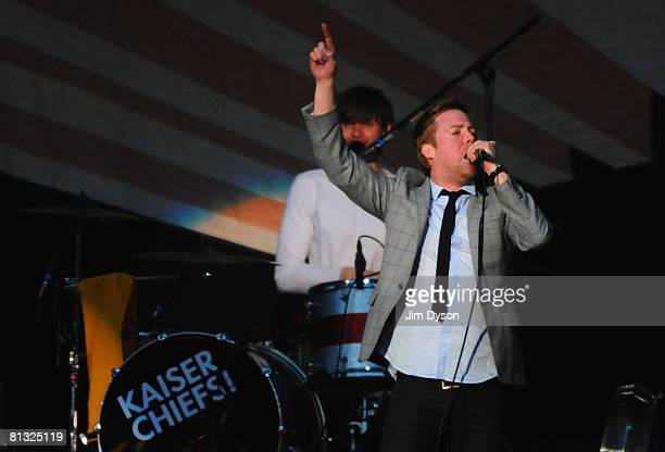 Ricky Wilson of the Kaiser Chiefs performs at the Liverpool Sound concert at the Anfield Stadium on June 1 2008 in Liverpool England The oneoff...
