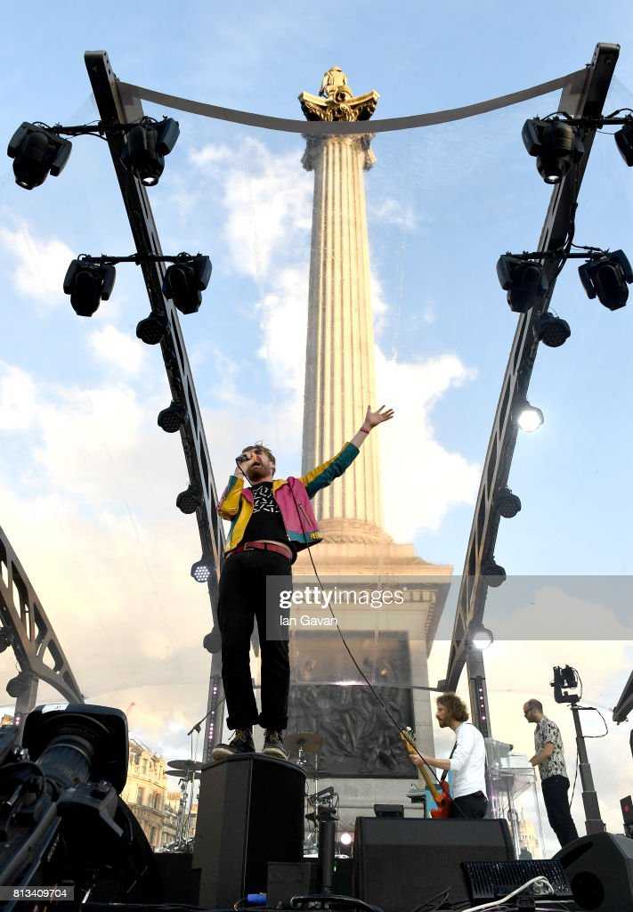 Ricky Wilson of the Kaiser Chiefs performs on stage at the F1 Live in London event at Trafalgar Square on July 12, 2017 in London, England. F1 Live London, the first time in Formula 1 history that all 10 teams come together outside of a race weekend to put on a show for the public in the heart of London.