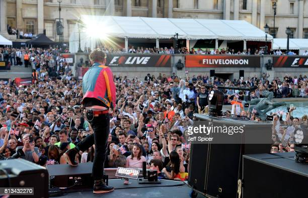 Ricky Wilson of the Kaiser Chiefs performs on stage at the F1 Live in London event at Trafalgar Square on July 12 2017 in London England F1 Live...