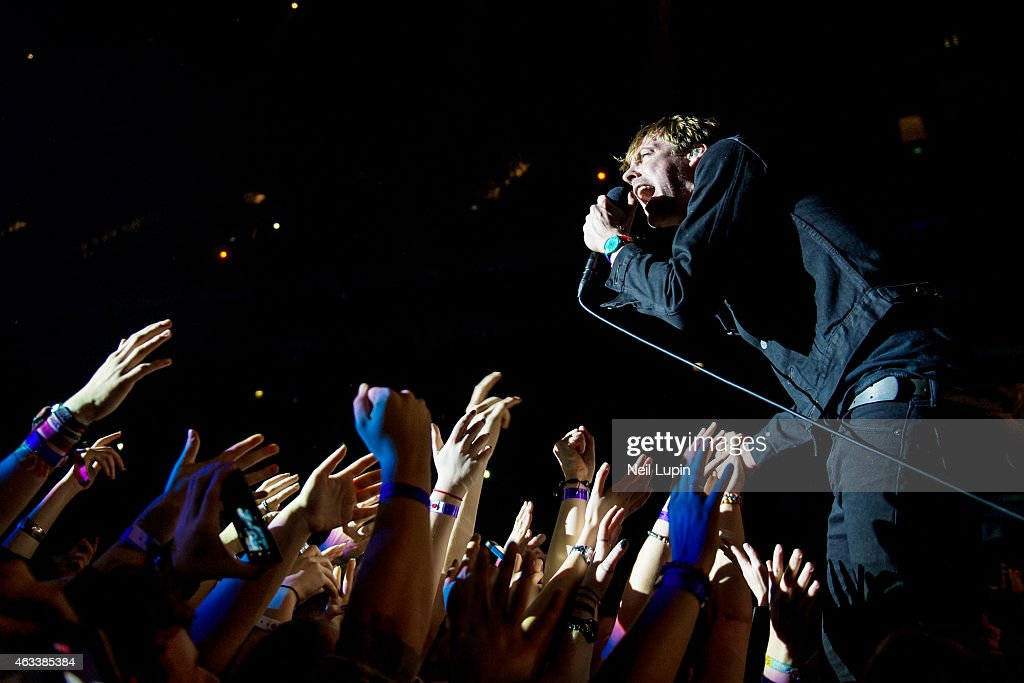 Ricky Wilson of the Kaiser Chiefs performs on stage at The O2 Arena on February 13, 2015 in London, United Kingdom.