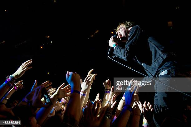 Ricky Wilson of the Kaiser Chiefs performs on stage at The O2 Arena on February 13 2015 in London United Kingdom