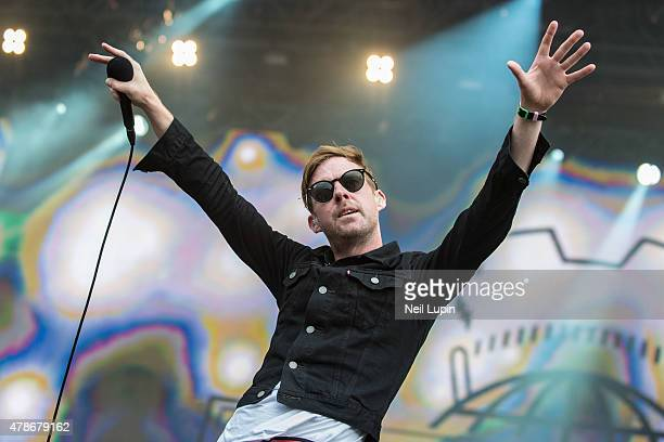 Ricky Wilson of the Kaiser Chiefs performs on the Great Oak Stage at Hyde Park on June 26 2015 in London United Kingdom