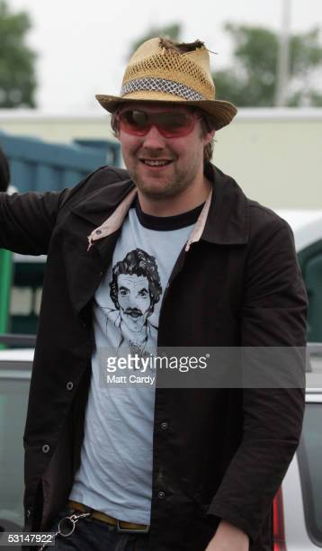 Ricky Wilson of the Kaiser Chiefs smiles backstage on the second day of the Glastonbury Music Festival 2005 at Worthy Farm Pilton on June 25 2005 in...