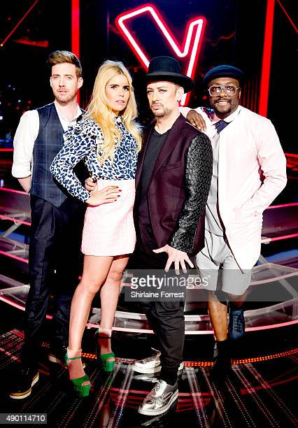 Ricky Wilson Paloma Faith Boy George and William of The Voice UK new Judge line up pose on set on first day of filming for Season 5 on September 26...