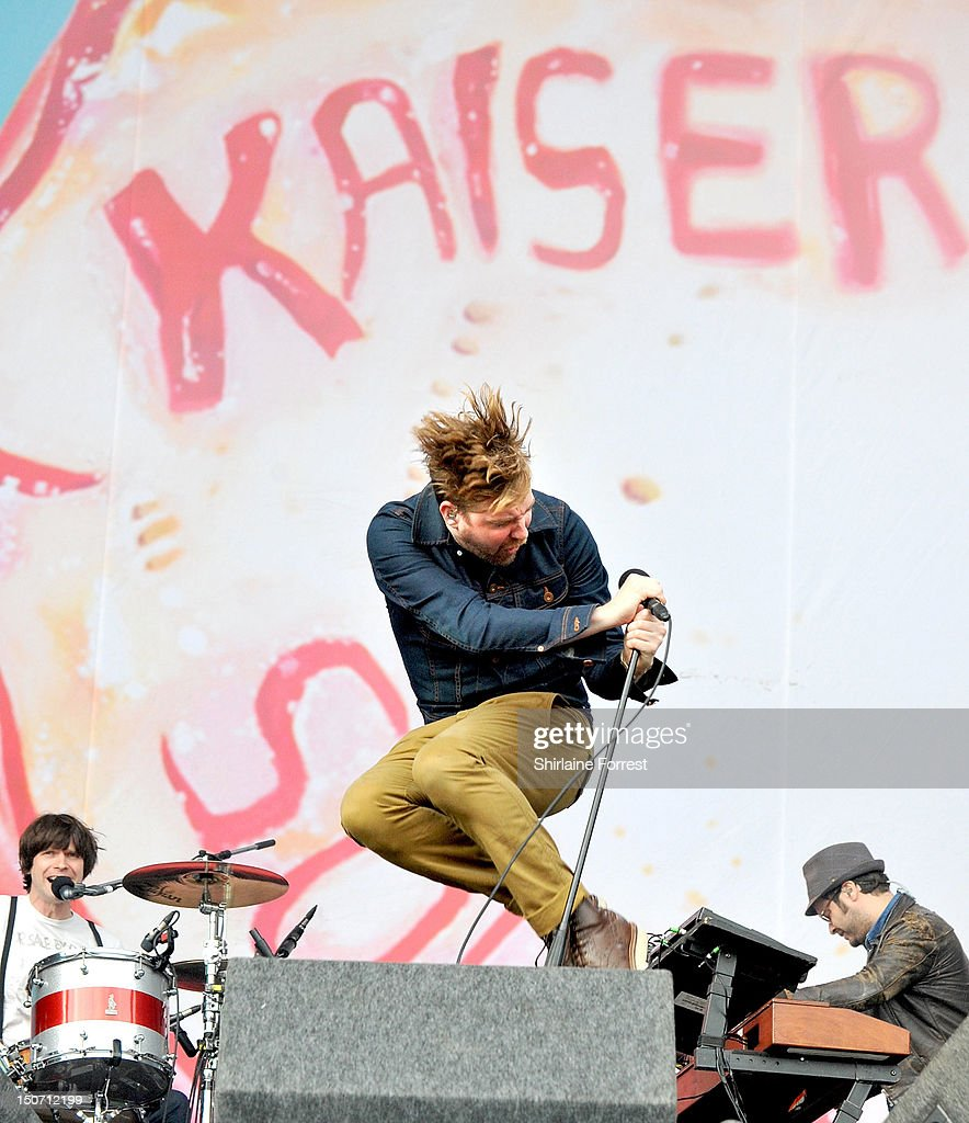 Ricky Wilson, Peanut and Nick Hodgson of Kaiser Chiefs performs at Bramham Park on August 24, 2012 in Leeds, England.