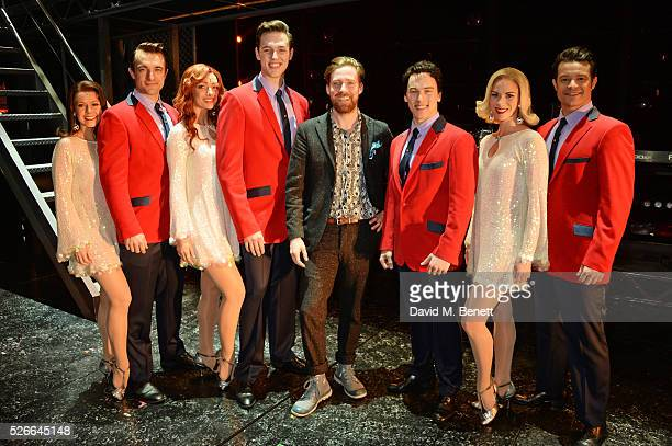 Ricky Wilson poses backstage with cast members Lucinda Gill Matt Hunt Nicky Griffiths Declan Egan Matt Corner Helen Ternent and Simon Bailey...