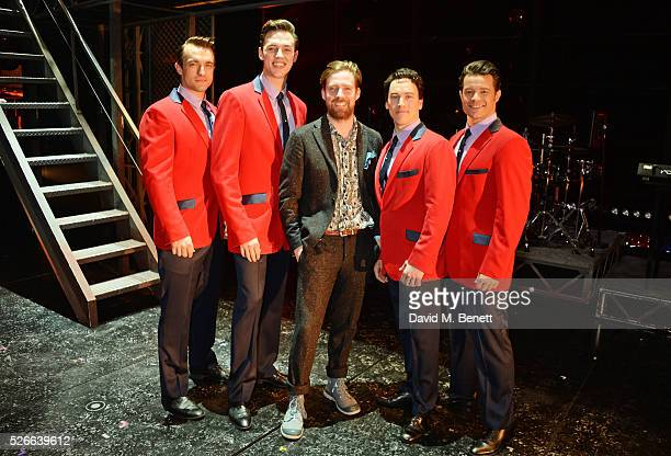 Ricky Wilson poses backstage with cast members Matt Hunt Declan Egan Matt Corner and Simon Bailey following a performance of 'Jersey Boys' at The...