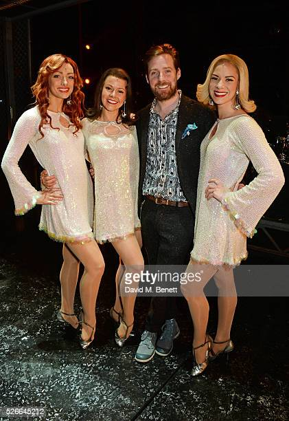 Ricky Wilson poses backstage with cast members Nicky Griffiths Lucinda Gill and Helen Ternent following a performance of 'Jersey Boys' at The...