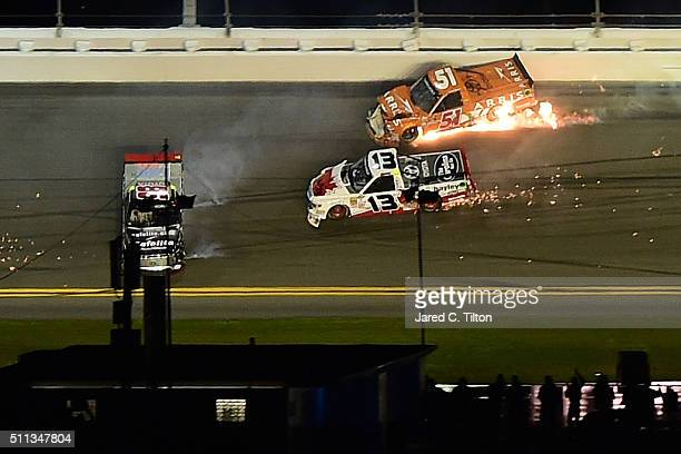 Rico Abreu driver of the Safelite Auto Glass Toyota Cameron Hayley driver of the Cabinets by Hayley Toyota and Daniel Suarez driver of the ARRIS...