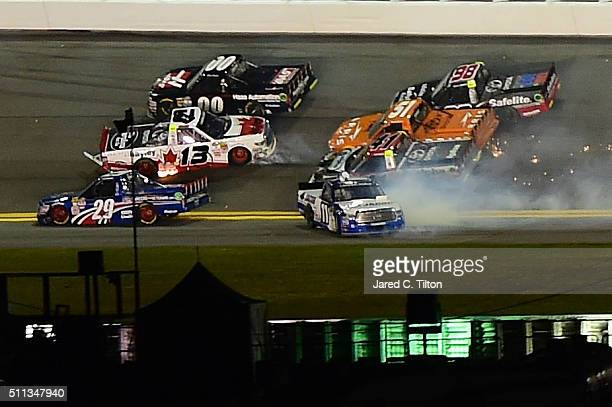 Rico Abreu driver of the Safelite Auto Glass Toyota Cameron Hayley driver of the Cabinets by Hayley Toyota Daniel Suarez driver of the ARRIS Toyota...