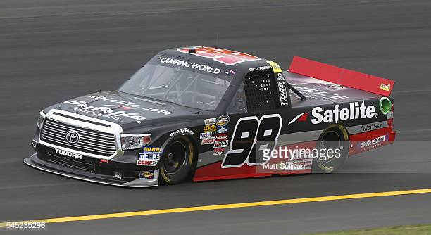 Rico Abreu driver of the Safelite Auto Glass/Curb Records Toyota practices for the NASCAR Camping World Truck Series Buckle Up In Your Truck 225 at...