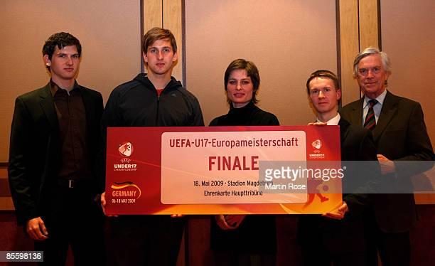 Rico Adlergerman goalkeeper Rene Adler Annika Schmitz Frank Steffen Elster and Georg Girardet pose during a photocall at the Westin Leipzig Hotel on...