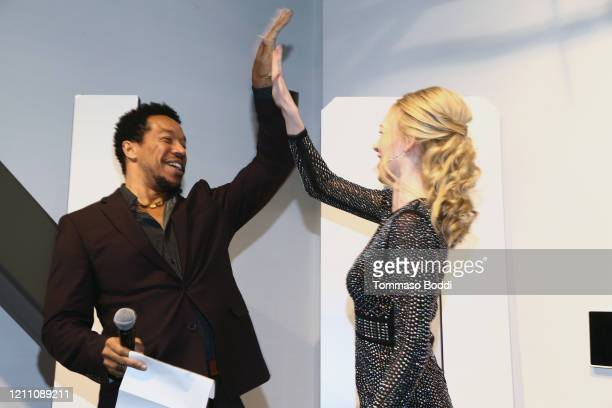 """Rico E. Anderson and Rachelle Henry attend the Cameron Nino """"Out"""" EP Launch on March 07, 2020 in Playa Vista, California."""