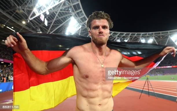 Rico Freimuth of Germany celebrates after the Men's Decathlon 1500 metres and winning silver during day nine of the 16th IAAF World Athletics...