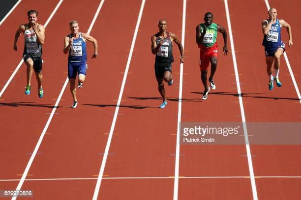 Rico Freimuth of Germany Karl Robert Saluri of Estonia Damian Warner of Canada Lindon Victor of Grenada and Zach Ziemek of the United States compete...