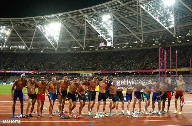Rico Freimuth of Germany silver Kevin Mayer of France gold and Kai Kazmirek of Germany bronze celebrate with the other athletes after the Men's...