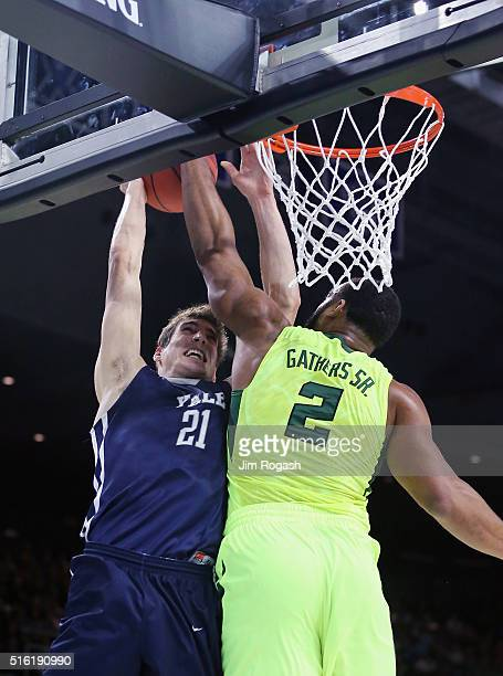 Rico Gathers of the Baylor Bears blocks a shot by Nick Victor of the Yale Bulldogs in the first half of their game during the first round of the 2016...