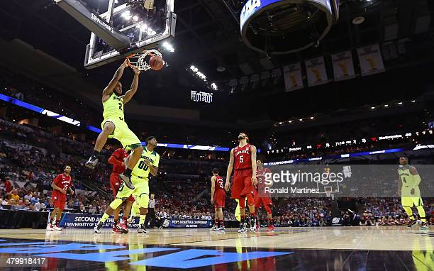 Rico Gathers of the Baylor Bears goes up for a dunk in the second half against the Nebraska Cornhuskers during the second round of the 2014 NCAA...