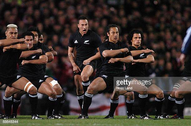 Rico Gear leads Jerry Collins Mils Muliaiana Sione Lauaki Tana Umaga and Doug Howlett in the Haka prior to the All Blacks 3819 win over the British...