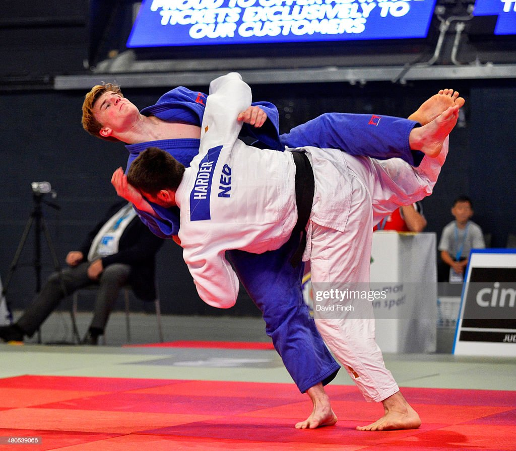 Rico Harder of Holland (blue) throws Jonathan Schindler of Switzerland for an ippon (10 points) on his way to the u90kg bronze medal during the 2015 London European Cup (11-12 July) at Wembley Arena, London, England, United Kingdom.