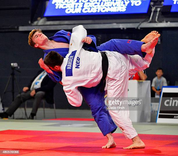 Rico Harder of Holland throws Jonathan Schindler of Switzerland for an ippon on his way to the u90kg bronze medal during the 2015 London European Cup...
