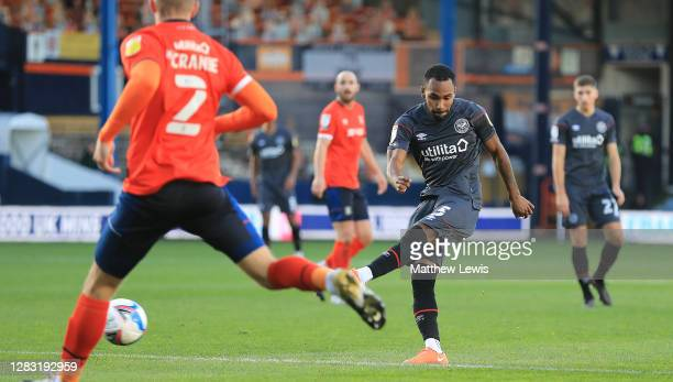 Rico Henry of Brentford scores a goal during the Sky Bet Championship match between Luton Town and Brentford at Kenilworth Road on October 31, 2020...