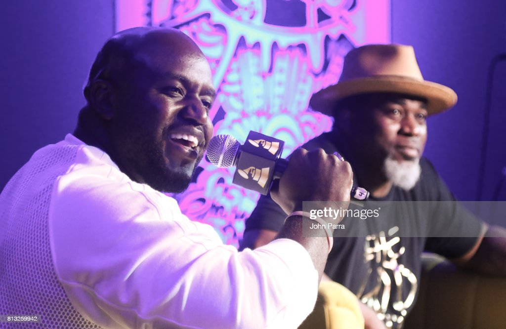 Rico Love and David Banner speak during the Up Close & Personal with Rico Love and David Banner for The Recording Academy at Studio 26 on July 11, 2017 in Miami, Florida.