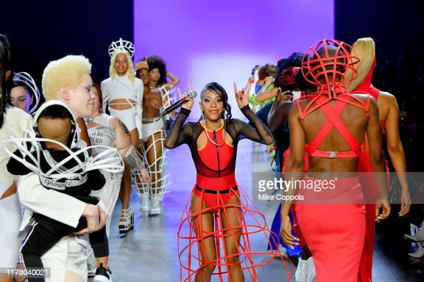Rico Nasty performs on the runway during Chromat Spring/Summer 2020 during New York Fashion Week The Shows at Gallery I at Spring Studios on...