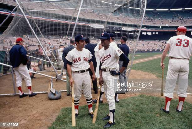 Rico Petrocelli of the Boston Red Sox and Rod Carew of the Minnesota Twins take batting practice before the All Star Game at RFK Stadium on July 23...