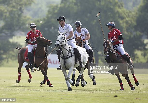 Rico Richert Prince William Duke of Cambridge Prince Harry and Robert Jornayvaz attend day one of the Audi Polo Challenge at Coworth Park on May 28...