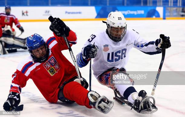 Rico Roman of United States battles for the puck with David Motycka of Czech Republic in the Ice Hockey Preliminary Round Group B game between United...