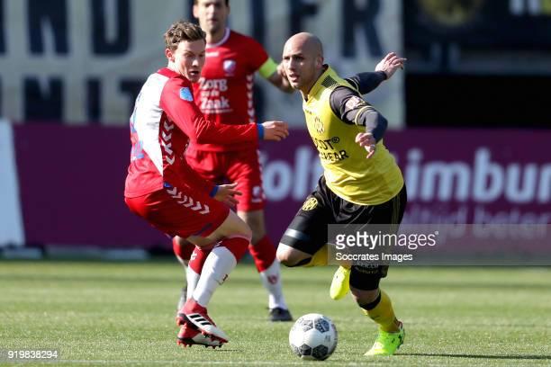 Rico Strieder of FC Utrecht, Dani Schahin of Roda JC during the Dutch Eredivisie match between Roda JC v FC Utrecht at the Parkstad Limburg Stadium...