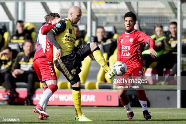 Rico Strieder of FC Utrecht, Dani Schahin of Roda JC, Yassin Ayoub of FC Utrecht during the Dutch Eredivisie match between Roda JC v FC Utrecht at...