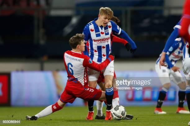 Rico Strieder of FC Utrecht Martin Odegaard of SC Heerenveen during the Dutch Eredivisie match between SC Heerenveen v FC Utrecht at the Abe Lenstra...