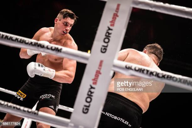 Rico Verhoeven fights Ismael Lazaar during the Glory 41 SuperFight kick box event in Den Bosch May 20 2017 / AFP PHOTO / ANP / Rob Engelaar /...