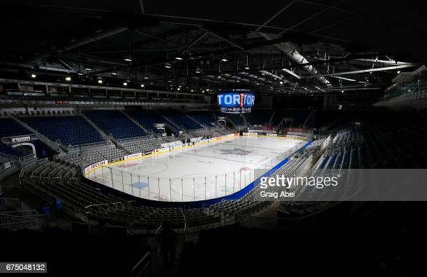 Ricoh Coliseum plays host to game 3 action between the Toronto Marlies and the Albany Devils in the Division Semifinal of the Calder Cup Playoffs on...