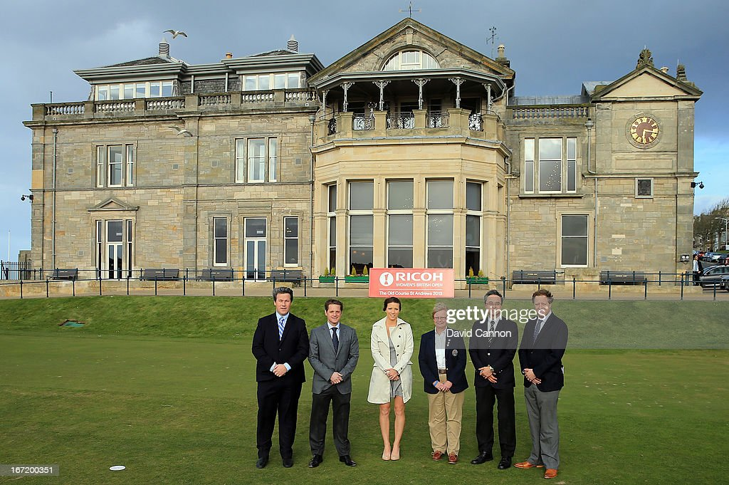Ricoh Women's Open Officials (L-R) Bart Somsen Brand Strategy Manager Ricoh Europe, Robbie Clyde Ryder Cup Project Director,Melissa Reid Ladies European Tour Player,Shona Malcolm CEO of the Ladies Golf Union, Yutaka Kaneko General Manager, Corporate Communication Centre Ricoh Europe and Ross Hallett IMG Tournament Director during the 2013 Ricoh Women's British Open Press Day on the Old Course at St Andrews, Scotland.