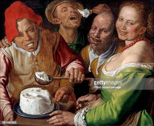 Ricotta eaters Characters with expressive and grotesque faces eating cheese with a ladle Painting by Vincenzo Campi 16th century 077 x 089 m...